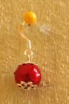 Červené náušnice s jednou kuličkou