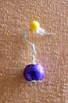 Fialové náušnice s jednou kuličkou