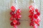 Ketlované červené náušnice