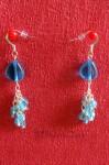 Modré náušnice se stříbrnými řetízky 1