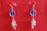 Modré náušnice se stříbrnými řetízky 2