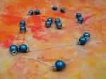 Náhrdelník a náušnice z modrých kuliček
