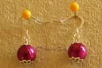 Růžovofialové náušnice s jednou kuličkou
