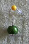 Zelené náušnice s jednou kuličkou