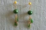 Zelené náušnice se zlatými řetízky 2