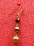 Zlatohnědé náušnice z voskovaných perliček