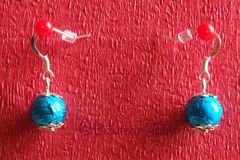 Modré náušnice s jednou kuličkou