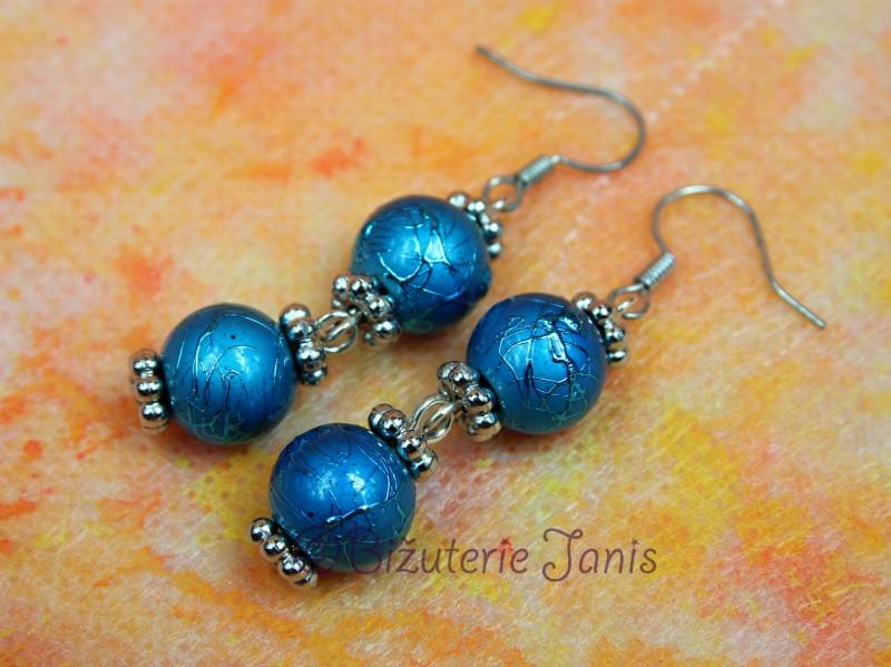 Modré náušnice se dvěmi kuličkami