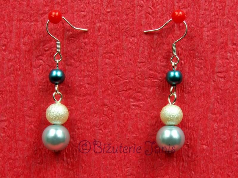 Modré náušnice z voskovaných perliček
