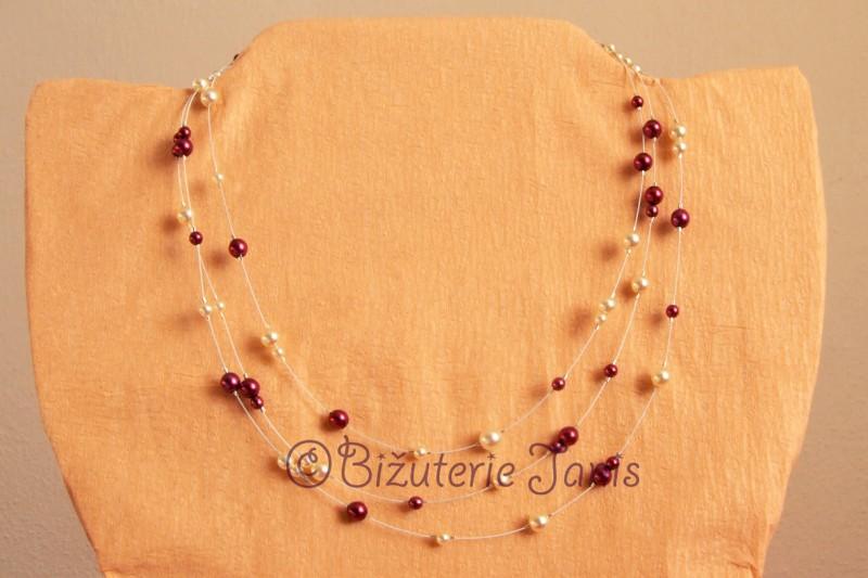 Náhrdelník z voskovaných perliček na lanku