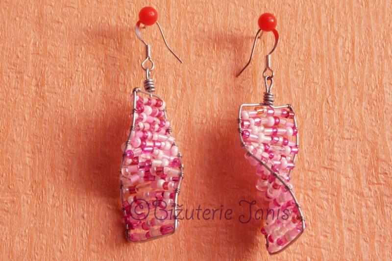 Růžové obdelníkové náušnice