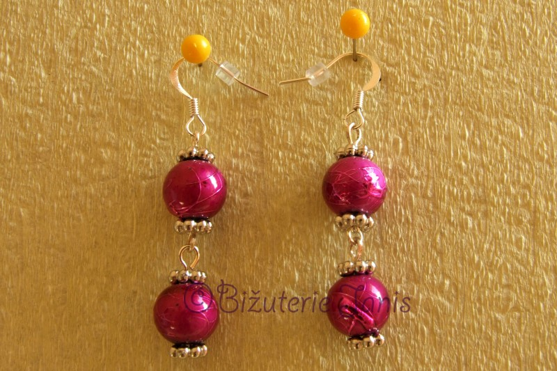 Růžovofialové náušnice se dvěmi kuličkami