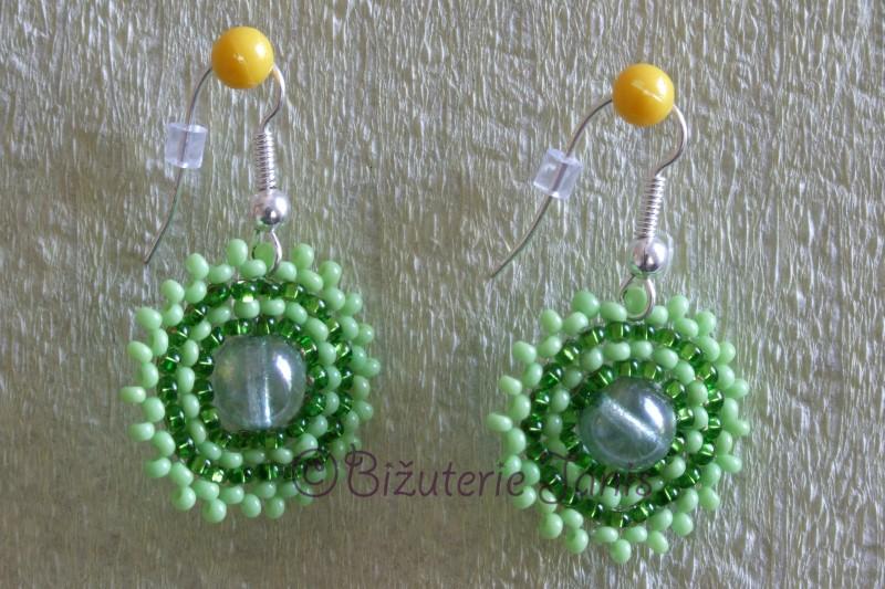 Zelené kruhové náušnice